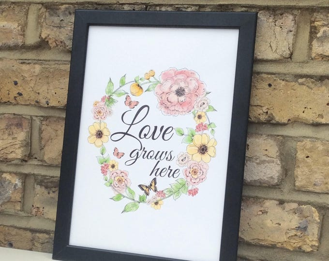 Love lives here quote print | Floral design | Wall prints | Wall decor | Home decor | Print only | Typography