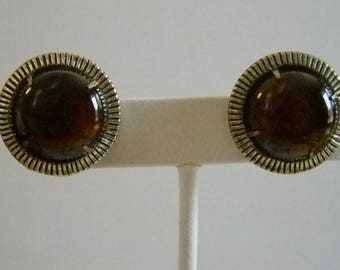 Trifari Gold Tone Amber Stone Clip Earrings
