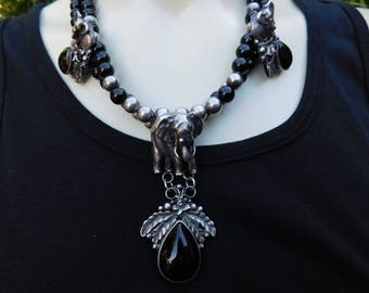 CAROL FELLEY Sterling elephant squash blossom necklace rare huge dimensional onyx endangered species