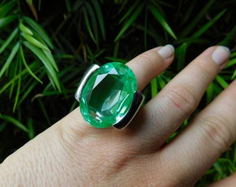 PIANEGONDA Italy huge rock star ring sterling silver with rhodium plate size 5.25 - 6.25 rare huge stone