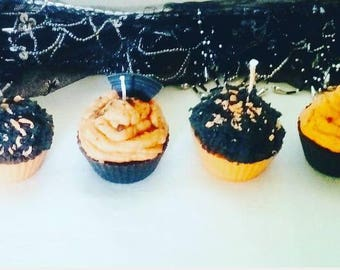 Set of 4 Halloween cupcake candles in soy wax, handmade candles,halloween candles, scented candle, halloween decor, halloween gift