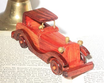 Hand Made Vintage Wood Toy Car, Vintage Toys, Wooden, Auto, Retro Car Collectible