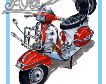 Vespa T5 mod scooter art print by marshys art scooter art print