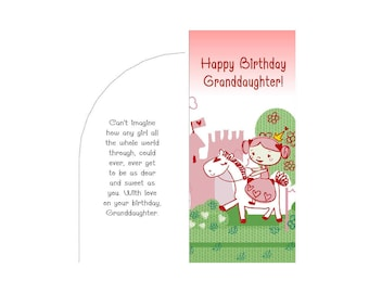 Granddaughter Happy Birthday Money Gift Card Envelope Printable PDF Templates