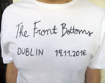The Front Bottoms T shirt, Setlist, Academy Dublin, Setlist, Brian Sella, Mathew Uychich, Tom Warren, Going Grey, Back on Top, TFB