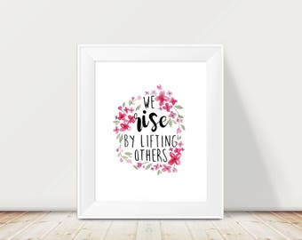 """Handlettering Watercolor, Watercolor Lettering, Boho Wall Decor, Quote Watercolor Flower, Floral Wall Decor, Inspirational Quote, 8x10"""""""