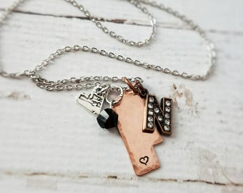 Nebraska Necklace, Home and Heart Design, Handstamped Copper, Rhinestone N, Silver, and Black, Love Nebraska
