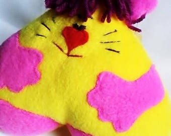 Yellow and pink cat plush toy