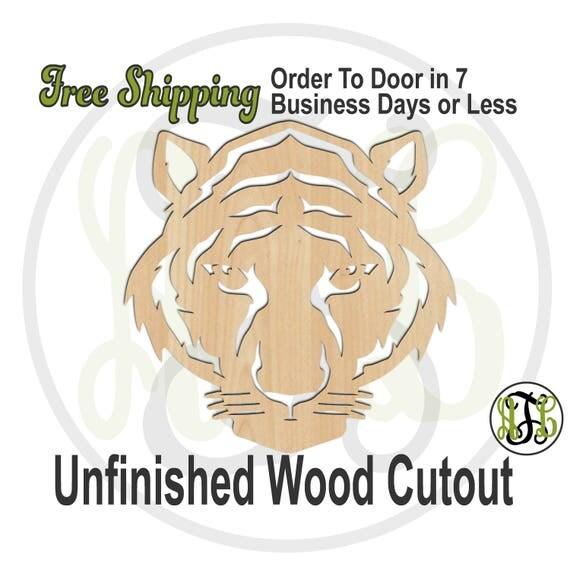 Tiger Head Mascot Outline- 60628- School Spirit Cutout, unfinished, wood cutout, wood craft, laser cut, wood cut out, Door Hanger, wooden