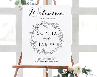 PRINTABLE Wedding Welcome Sign, Custom Sign / welcome to our wedding / rustic botanical wreath / floral / personalised /modern calligraphy /