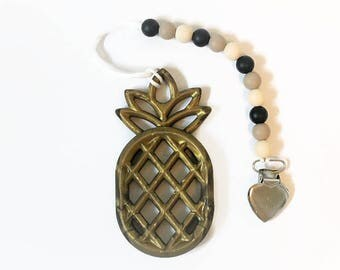 Metallic Gold Pineapple Pacifier Clip I Pineapple Teether I Pineapple Pacifier Clip I Teething Toy I Pacifier Clip
