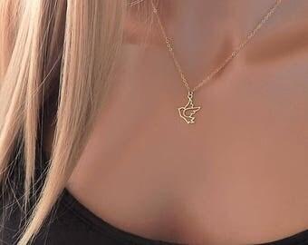Dove Necklace • Gold or Silver Dove Pendant • Bird Necklace • Peace Dove • Sparrow Necklace • Girlfriend Gift [416]