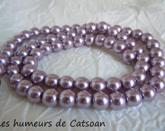 100 8 mm lilac purple pearl beads / Pearl / cultured pearl