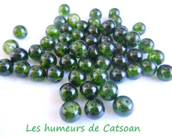 30 color green 8 mm cracked glass beads