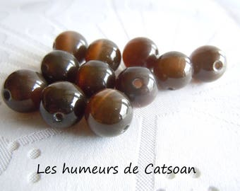 5 glass 12mm Brown cat's eye / cateyes / Pearl / bead 12mm