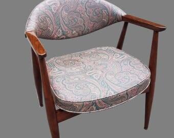 Vintage Mid-Century Walnut and Paisley Vinyl Danish Modern Chair