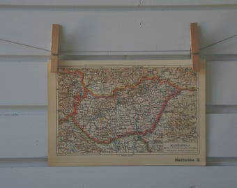 1938 Vintage Hungary Map