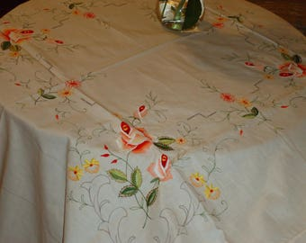Vintage, Ecru  Embroidered  70 in. Round Tablecloth and Napkins, Today's Treasure is Tomorrow's Heirloom