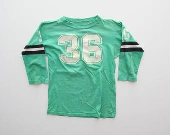 """70s Vintage Kids Football Jersey Style T-Shirt #36 Green and White 30"""" Chest / Medium"""