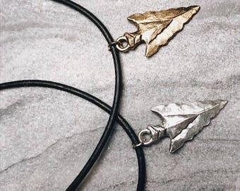 Pewter arrowhead chokers. Leather choker. Chokers.