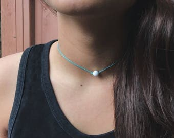 White Marble Beaded Choker. Beaded Choker Necklace. Turquoise Necklace. Single Bead Necklace.
