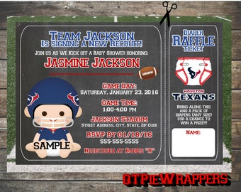 Printable Houston Texans Football Baby Boy Shower Invitations Personalized attached Raffle Ticket