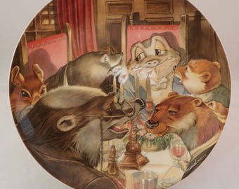 """Wedgwood Wind in the Willows Collectors Plate, """"The Banquet"""" Toad, Rat, Mole, Badger & Otter – by Eric Kincaid"""