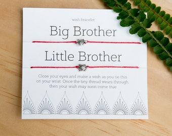 Big Brother Little Brother Wish Bracelet, Friendship Bracelet, Two bracelets, Make a Wish, Gift for Brother, Gift Topper, Boy Present