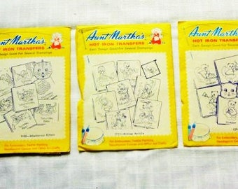 Set of THREE (3) Aunt Martha KITTEN TRANSFERS