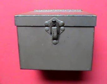Small vintage U.S. Military hinged metal storage box or chest