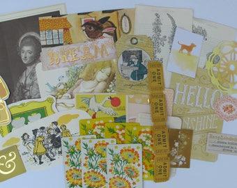 yellow mixed media supply, yellow colored inspiration kit, yellow ephemera pack, vintage mixed ephemera