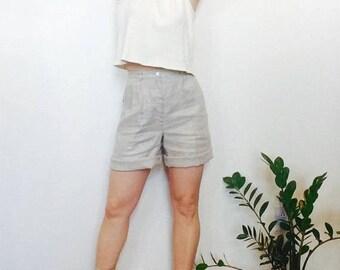 Vintage linen shorts High waisted shorts 90s shorts natural linen shorts high waisted linen shorts 25 inch waist shorts 90s 25 shorts xs