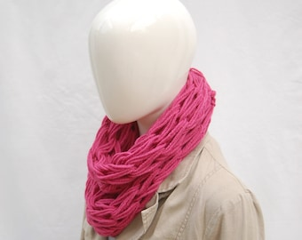 Hand knit cowl in raspberry yarn, giant knitting, valentine gift, gift for her, knit scarf