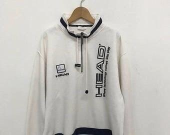 BIG SALE Vintage Head Half Zipper Sweater/Head Sport Sweater/Head Pullover/Sportwear Clothing