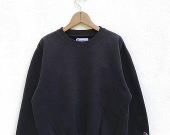 "20% OFF VintageChampion  C Logo Women Sweatshirt / Champion Sweater / Champion Clothing / Champion Spellout / Armpit 22"" / Black Sweater"