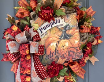 Fall Autumn Wreath, Harvest Wreath, Pumpkin Wreath, Fall Door Decor, Fall Decorations, Fall Deco Jute Wreath, Pumpkin Canvas Wreath