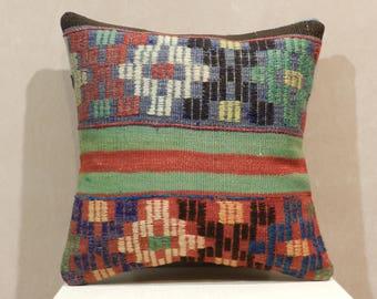kilim pillow,16x16 inch,turkish pillow,vintage pillow,decorative pillows,kilim pillow cover,pillows,pillow covers,pillows,throw pillows