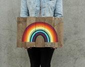Custom Mini Reclaimed Wood Rainbow Sign
