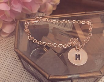 Hand Stamped Initial Disc Charm Bracelet - Available in Rose Gold Plated