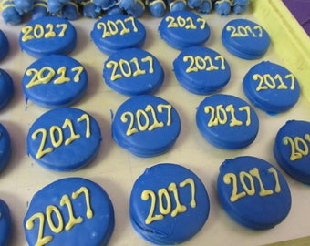 Graduation Celebration Party Monogram chocolate dipped cookies