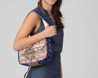 Embroidery Bag,Shoulder bag, Indian bag, Tribal bag, Ethnic bag, Gypsy bag, Bohemian bag, Afghani Jewelry, Fabric bag, Blue Embroidery bag