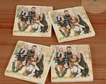Personalized Photo Marble Coasters , Photo Coaster Set, Marble Photo Coasters