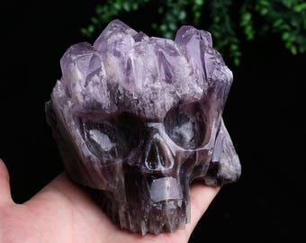 Natural Amethyst Quartz Crystal Cluster Carved Skull ,Healing Skull J744