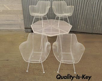Vintage Russell Woodard Sculptura Dining Set 4 Arm Chairs Octagonal Table Wire Mesh
