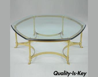 labarge coffee cocktail table brass rams hoof feet glass top