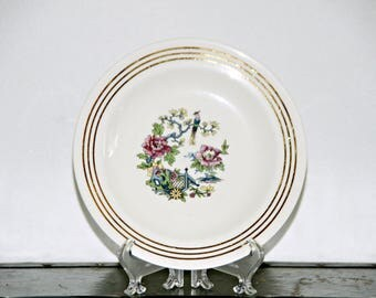 Royal China Shawnee, Salad Plate, 22K Gold Trim, Asian Pattern, Bird of Paradise, Floral, Poppy, Made in USA, Sebring Ohio, 1940s - 1960s