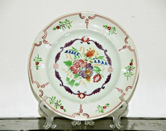 Adams Calyx Ware Luncheon Plate, 9 Inch, Floral, Pale Green, Flowers, Filigree Rim, Pattern 2475, Made in England, 1950s - 1960s, Transfer