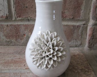 White ceramic floral vase, white 3D flower on vase