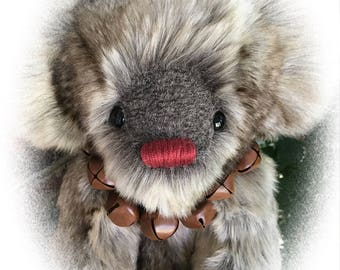 Rudolph, OOAK Artist Teddy Bear, BearFolk & Friends, Lil Darlin Original, Teddy Bear, Original Pattern, Handmade, Teddy Bear
