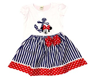 Girl Minnie  birthday outfit  girl  Minnie  Nautical outfit, toddler Minnie outfit, baby dress girl  toddler outfit Minnie outfit